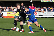 AFC Wimbledon attacker Egli Kaja (21) battles for possession during the EFL Sky Bet League 1 match between AFC Wimbledon and Bury at the Cherry Red Records Stadium, Kingston, England on 5 May 2018. Picture by Matthew Redman.