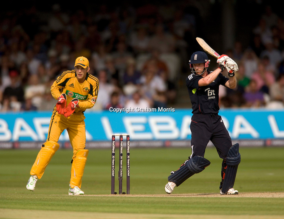 Paul Collingwood bats during the final one day international between England and Australia at Lord's.  Photo: Graham Morris (Tel: +44(0)20 8969 4192 Email: sales@cricketpix.com) 03/07/10