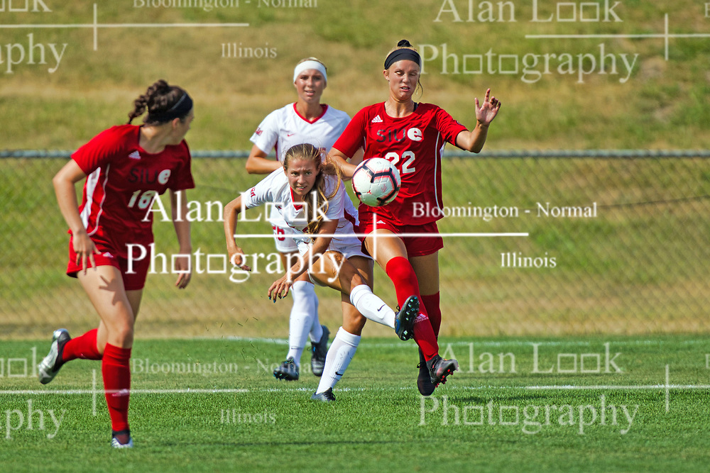 NORMAL, IL - August 10:  Katherine Felton & Katie Mahoney during a nonconference exhibition women's soccer match between the Southern Illinois Edwardsville Cougars and the Illinois State Redbirds August 10 2019 on Adelaide Street Field in Normal IL (Photo by Alan Look)