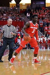 03 December 2016: Jordan Hunter watched from behind by Bob Staffen during an NCAA  mens basketball game between the New Mexico Lobos the Illinois State Redbirds in a non-conference game at Redbird Arena, Normal IL