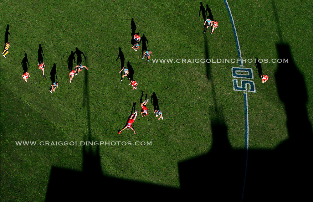 Picture taken at the SCG during the match between Sydney Swans and Port Adelaide. General action from the light tower. <br /> Commissioned by Sydney Morning Herald