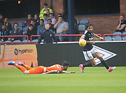 July 30th 2017, Dundee, Scotland; Betfred Cup football, group stages, Dundee versus Dundee United; Dundee&rsquo;s Sofien Moussa goes past Dundee United's Mark Durnan<br /> <br />  - Picture by David Young - www.davidyounghoto@gmail.com - email: davidyoungphoto@gmail.com