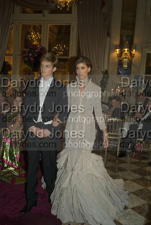 BENJAMIN DELPON-DE-VAUX AND JUDITH DE LA WARREN, Crillon Debutante Ball 2007,  Crillon Hotel Paris. 24 November 2007. -DO NOT ARCHIVE-© Copyright Photograph by Dafydd Jones. 248 Clapham Rd. London SW9 0PZ. Tel 0207 820 0771. www.dafjones.com.