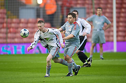 LIVERPOOL, ENGLAND - Thursday, May 14, 2009: Radio City's Owen Miskelly and Liverpool Echo's James Pearce during a match before the Hillsborough Memorial Charity Game at Anfield. (Photo by David Rawcliffe/Propaganda)