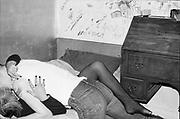 Kelly and Gavin in Gavin's bedroom. Hawthorne Road, High Wycombe, UK, 1980s.