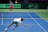 (L) Jerzy Janowicz & (R) Michal Przysiezny both from Poland while training session two days before the BNP Paribas Davis Cup 2014 between Poland and Croatia at Torwar Hall in Warsaw on April 2, 2014.<br /> <br /> Poland, Warsaw, April 2, 2014<br /> <br /> Picture also available in RAW (NEF) or TIFF format on special request.<br /> <br /> For editorial use only. Any commercial or promotional use requires permission.<br /> <br /> Mandatory credit:<br /> Photo by © Adam Nurkiewicz / Mediasport