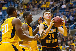Dec 23, 2016; Morgantown, WV, USA; Northern Kentucky Norse forward Drew McDonald (34) shoots in the lane during the first half against the West Virginia Mountaineers at WVU Coliseum. Mandatory Credit: Ben Queen-USA TODAY Sports