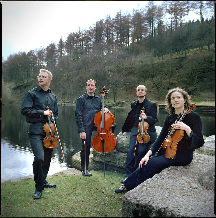 The Tempest String Quartet photographed outside Sheffield.