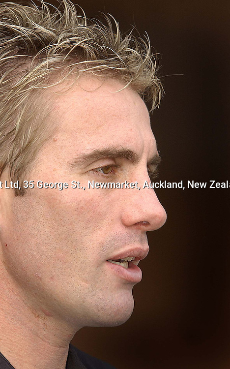 Juatin Marshall during an All Black Training, 07 June 2004 in Dunedin, prior to the Test match against England on Saturday.<br />