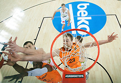 Uros Slokar of Slovenia vs Charlon Kloof of Netherlands and Henk Norel of Netherlands during basketball match between Slovenia vs Netherlands at Day 4 in Group C of FIBA Europe Eurobasket 2015, on September 8, 2015, in Arena Zagreb, Croatia. Photo by Vid Ponikvar / Sportida