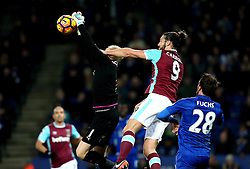 Andy Carroll of West Ham United challenges Kasper Schmeichel of Leicester City - Mandatory by-line: Robbie Stephenson/JMP - 31/12/2016 - FOOTBALL - King Power Stadium - Leicester, England - Leicester City v West Ham United - Premier League