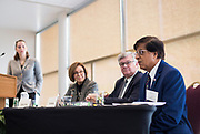 "Gurdip Brar, right, speaks during the panel discussion ""Leading Locally: How can Cities Move Wisconsin Forward?"" during the Cap Times Idea Fest 2018 at the Pyle Center in Madison, Wisconsin, Saturday, Sept. 29, 2018."