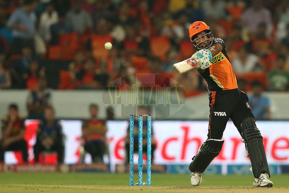 Bhuvneshwar Kumar of Sunrisers Hyderabad attacks a delivery during match 22 of the Vivo IPL 2016 (Indian Premier League) between the Sunrisers Hyderabad and the Rising Pune Supergiants held at the Rajiv Gandhi Intl. Cricket Stadium, Hyderabad on the 26th April 2016<br /> <br /> Photo by Shaun Roy / IPL/ SPORTZPICS