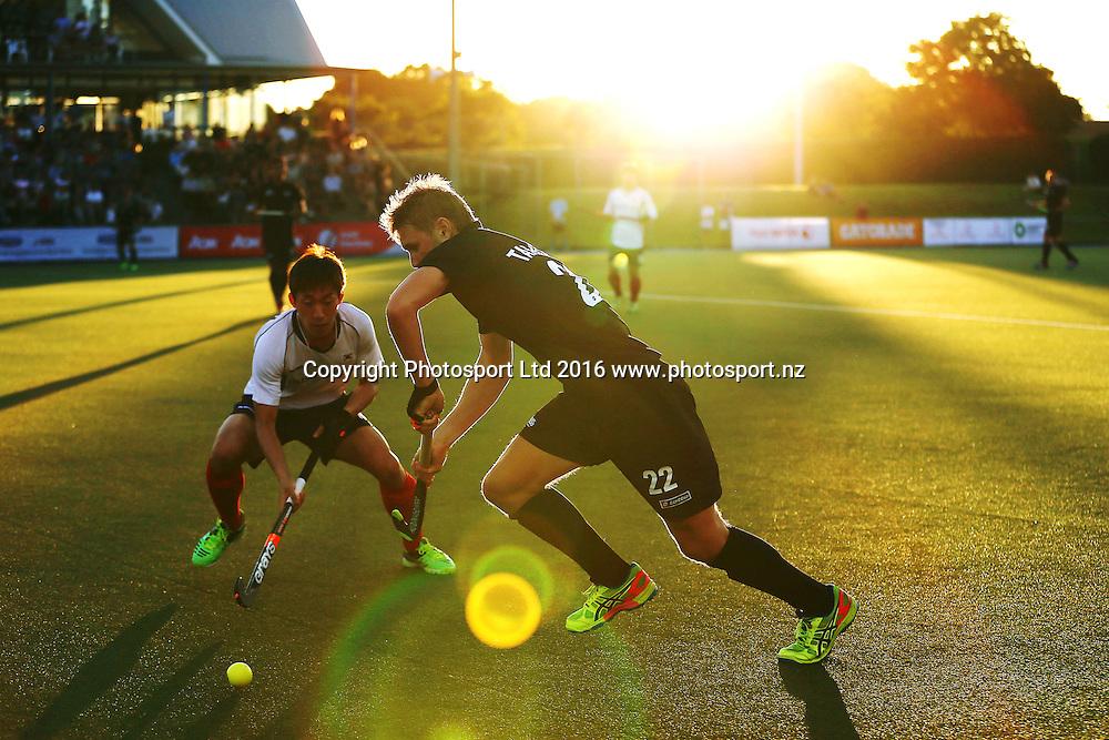 Blair Tarrant of New Zealand in action. Black Sticks Men vs Korea test series, Lloyd Elsmore Hockey Stadium, Auckland, New Zealand. 16 March 2016. Photo: Anthony Au-Yeung / www.photosport.nz