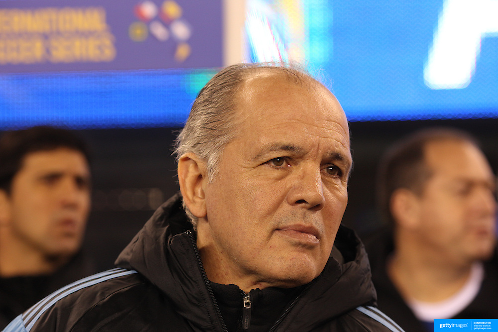 Alejandro Sabella the Argentinian coach, on the sideline during the Argentina Vs Ecuador International friendly football match at MetLife Stadium, New Jersey. USA. 15th November 2013. Photo Tim Clayton