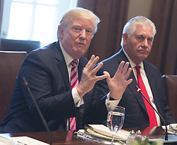 September 7, 2017 - Washington, District of Columbia, United States of America - United States President Donald J. Trump speaks to the media during a meeting with Amir Sabah al-Ahmed al-Jaber al-Sabah of Kuwait at The White House in Washington, DC, September 7, 2017.  At right is US Secretary of State Rex Tillerson. .Credit: Chris Kleponis / Pool via CNP (Credit Image: © Chris Kleponis/CNP via ZUMA Wire)