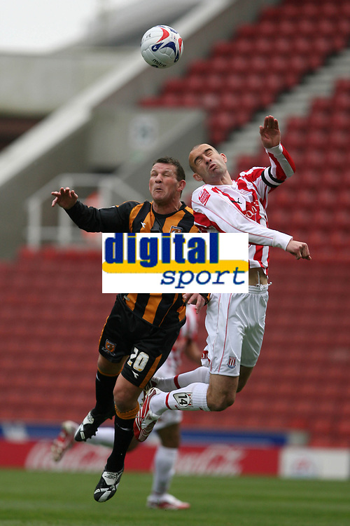 Photo: Pete Lorence.<br />Stoke City v Hull City. Coca Cola Championship. 21/04/2007.<br />Dean Windass and Danny Higginbotham on the attack.