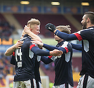 Dundee&rsquo;s Mark O&rsquo;Hara is congratualted after scoring the third - Motherwell v Dundee in the Ladbrokes Scottish Premiership at Fir Park, Motherwell.Photo: David Young<br /> <br />  - &copy; David Young - www.davidyoungphoto.co.uk - email: davidyoungphoto@gmail.com