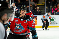 KELOWNA, BC - NOVEMBER 8:  Leif Mattson #28 of the Kelowna Rockets celebrates a third period goal against the Medicine Hat Tigers at Prospera Place on November 8, 2019 in Kelowna, Canada. (Photo by Marissa Baecker/Shoot the Breeze)