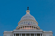 The United States Capitol Building in Washington, DC in evening light.