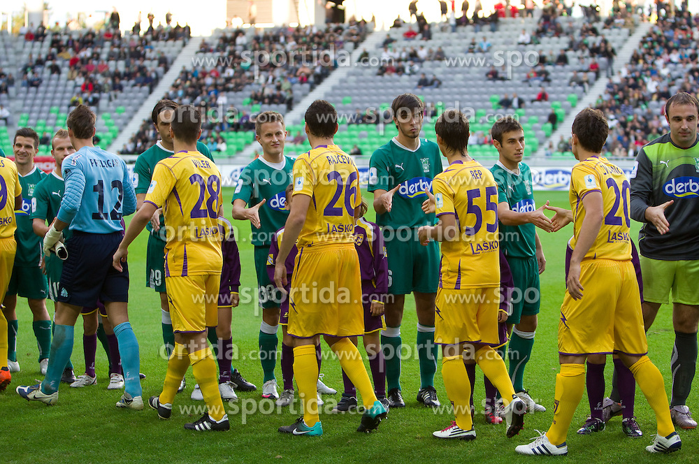 Players during the football match between NK Olimpija and NK Maribor, played in the 4th Round of Prva liga football league 2010 - 2011, on September 29, 2010, in Stozice, Ljubljana, Slovenia. Maribor defeated Olimpija 1 - 0. (Photo by Vid Ponikvar / Sportida)