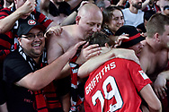 February 18, 2017:  Western Sydney Wanderers Ryan Griffiths (19) celebrates the win at Round 20 of the 2016 Hyundai A-League match, between Western Sydney Wanderers and Sydney FC, played at ANZ Stadium in Sydney.