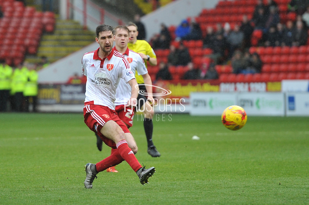 Sheffield United defender, on loan from Birmingham City, David Edgar takes a shot at goal from long range during the Sky Bet League 1 match between Sheffield Utd and Port Vale at Bramall Lane, Sheffield, England on 20 February 2016. Photo by Ian Lyall.