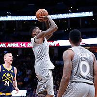 05 April 2018: Minnesota Timberwolves guard Jamal Crawford (11) takes a jump shot during the Denver Nuggets 100-96 victory over the Minnesota Timberwolves, at the Pepsi Center, Denver, Colorado, USA.