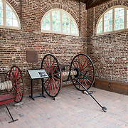 Inside John Brown's Fort at Harpers Ferry in West Virginia. On October 17, 1859, Brown led an attack on Harpers Ferry to launch a war against slavery. This is not the original site of the fort. It was originally located a few hundred feet away but was moved to accommodate the construction of a railway line.