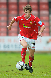 WREXHAM, WALES - Saturday, February 14, 2009: Wrexham's Andrew Fleming in action against Grays Athletic during the Blue Square Premier League match at the Racecourse Ground. (Mandatory credit: David Rawcliffe/Propaganda)