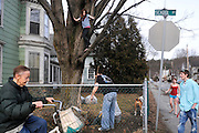 A bicyclist rolls past on School Street in Lebanon as Kevin Guerin, middle, rakes leaves on his Lebanon lawn surrounded by his step daughters Lexi Lowell, 10, in tree, Halie Lowell, 13, right, and son Brody, right, Monday, March 12, 2012. <br /> Valley News - James M. Patterson<br /> jpatterson@vnews.com<br /> photo@vnews.com