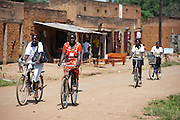 Counsellors use their bikes for making visits to groups in the surrounding villages. Visit to the work of Network for Africa in Patongo, Northern Uganda, November 2012.