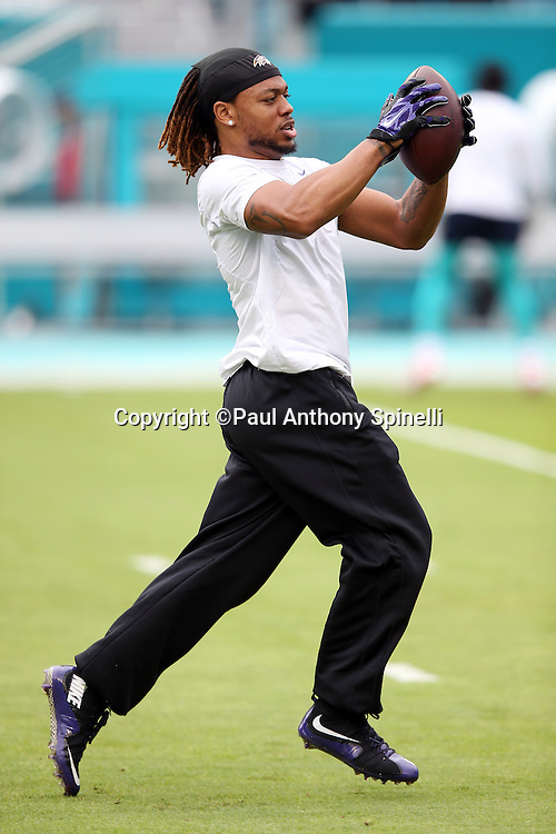 Baltimore Ravens wide receiver Kaelin Clay (81) catches a pass while warming up before the 2015 week 13 regular season NFL football game against the Miami Dolphins on Sunday, Dec. 6, 2015 in Miami Gardens, Fla. The Dolphins won the game 15-13. (©Paul Anthony Spinelli)