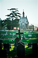 Grave at Mountain View Cemetery with large mausoleum in distance, in Oakland, CA.  Copyright 2008 Reid McNally.