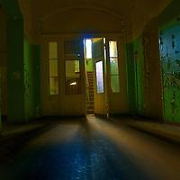 Dark interior of empty hospital