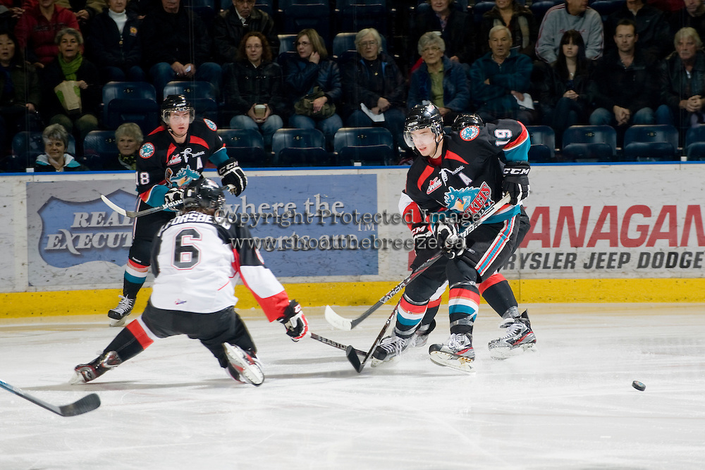 KELOWNA, CANADA, DECEMBER 3: Brett Bulmer #19 of the Kelowna Rockets makes a pass as the Prince George Cougars visit the Kelowna Rockets  on December 3, 2011 at Prospera Place in Kelowna, British Columbia, Canada (Photo by Marissa Baecker/Shoot the Breeze) *** Local Caption ***