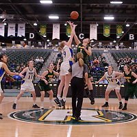 5th year forward Charlotte Kot (1) of the Regina Cougars in action during the Women's Basketball Playoff Game on February  16 at Centre for Kinesiology, Health and Sport. Credit: Arthur Ward/Arthur Images