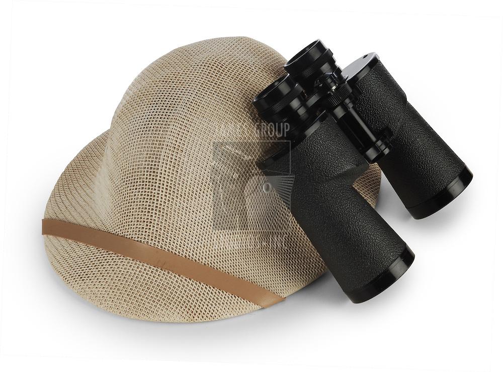 safari pith helmet and binoculars isolated on white background