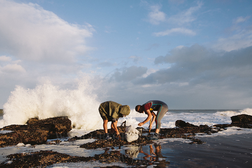 Local men brave the breaking waves to ttry and collect mussles from the rocks on the coast. Oualidia, Morocco.