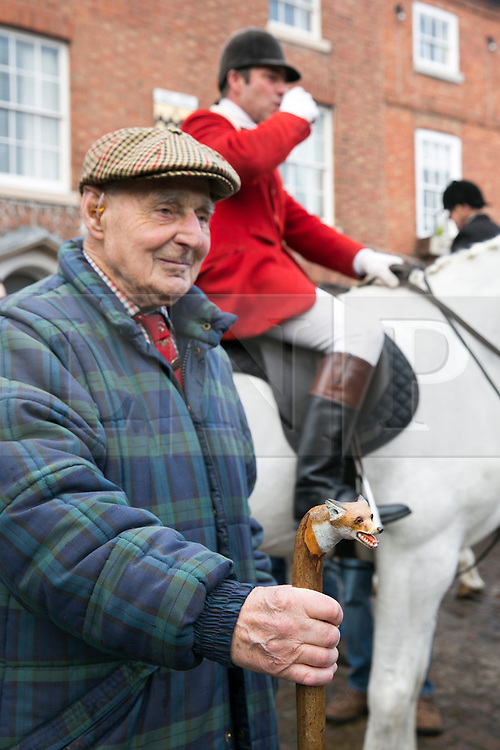 © Licensed to London News Pictures. 26/12/2013. Market Bosworth, Leicestershire, UK. The tradditional Market Bosworth Hunt meet took place today. Pictured, Cliff Toone holding his walking stick. Photo credit : Dave Warren/LNP