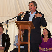 LtoR - Jim Collins (MC), Ray Dunne (Waterways Ireland), Niamh Wiley (Committee) and special guest Charlie Bird during the opening ceremony of the 2014 Scariff Harbour Festival