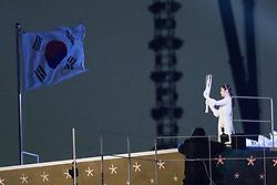 PYEONGCHANG-GUN, SOUTH KOREA - FEBRUARY 09: South Korean figure skater Kim Yu-na prepares to light the cauldron with the Olympic Flame during the Opening Ceremony of the PyeongChang 2018 Winter Olympic Games at PyeongChang Olympic Stadium on February 9, 2018 in Pyeongchang-gun, South Korea. Photo by Kim Jong-man / Sportida