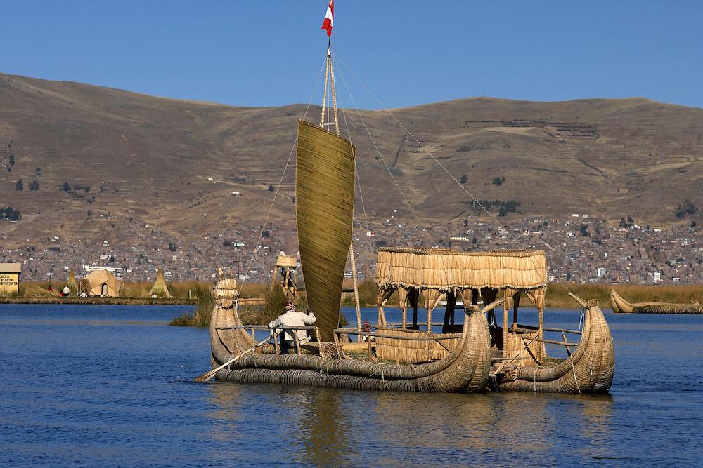 reed boat  Lake Titicaca  Peru