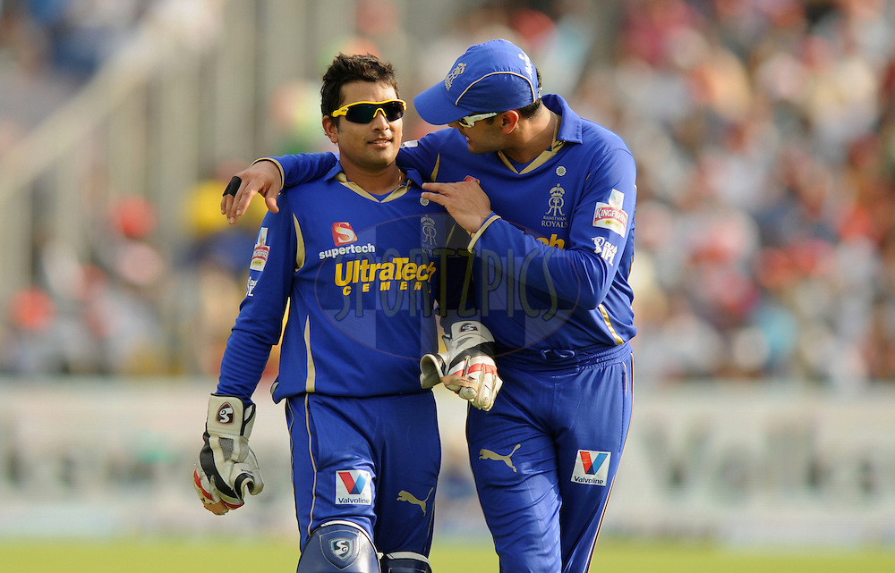 Owais Shah of Rajasthan Royals has a word with Dishant Yagnik of Rajasthan Royals during match 52 of the  Indian Premier League ( IPL) 2012  between The Pune Warriors India and the Rajasthan Royals held at the Subrata Roy Sahara Stadium, Pune on the 8th May 2012..Photo by Pal Pillai/IPL/SPORTZPICS