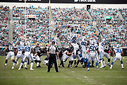 The Indianapolis Colts leap in the air while trying to block a 37 yard fourth quarter field goal that gives the Jaguars a 6-0 lead during the NFL week 13 regular season football game against the Jacksonville Jaguars on Sunday, Dec. 2, 2018 in Jacksonville, Fla. The Jaguars won the game in a 6-0 shutout. (©Paul Anthony Spinelli)