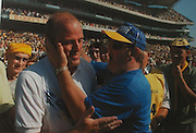 A fan congratulates manager Ger Loughnane on Clare reaching their first All-Ireland final after 81 years, by defeating Galway in the 1995 All-Ireland semi-final.