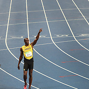 Athletics - Olympics: Day 9  Usain Bolt of Jamaica celebrates after winning the Men's 200m Final at the Olympic Stadium on August 18, 2016 in Rio de Janeiro, Brazil. (Photo by Tim Clayton/Corbis via Getty Images)