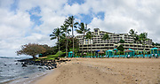 Puu Poa Beach and the St. Regis Princeville Resort. Kauai, Hawaii, USA. This image was stitched from multiple overlapping images.