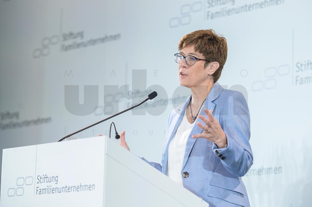 28 JUN 2019, BERLIN/GERMANY:<br /> Annegret Kramp-Karrenbauer, CDU Parteivorsitzende, haelt eine Rede auf dem Tag des Deutschen Familienunternehmens, Hotel Adlon<br /> IMAGE: 20190628-01-048<br /> KEYWORDS: AKK
