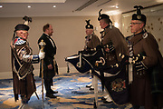 JOHN SHIELDS, PIPES AND DRUMS OF THE LONDON SCOTTISH REGIMENT, The 171 st Royal Caledonian Ball 2019, Grovenor House, Park Lane, London. 3 May 2019